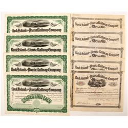 Rock Island and Peoria Railway Company Stock Certificates (2 Different)