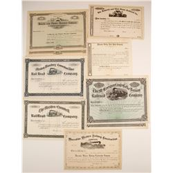 Seven Different Stock Certificates: CT, IA, PA, NY, IL
