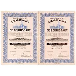 Societe Anonyme Des De Bernissart (Coal Mining Company Bond Certificates)