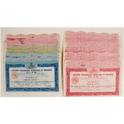 Societe Coloniale Agricole et Miniere Bond Certificates (Three Different Colored)