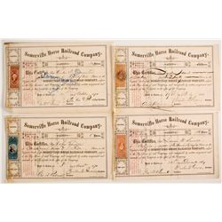 Somerville Horse Railroad Company Stock Certificates With Revenue Stamps