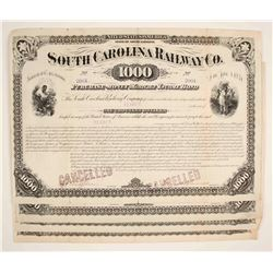 South Carolina Railway Company Bond Certificates