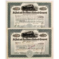 St. Paul and Des Moines Railroad Company Stock Certificates