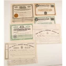 State Railroad Stock Certificates and One Bond, Three Different