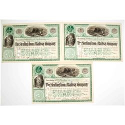 Sterling Iron and Railway Company Stock Certificates - New York