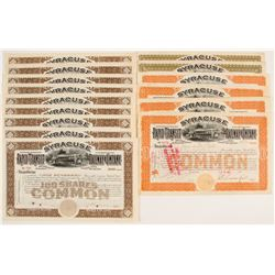 Syracuse Rapid Transit Railway Company Stock Certificates