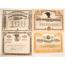 Three Different Stock Certificates:  NY, MO, IN