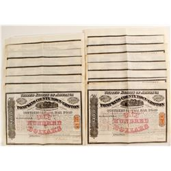 Tompkins County, Town of Groton Southern Central Rail Road Company Stock Certificates, NY
