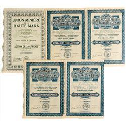Union Miniere de la Haute Mana (Belgium) & Compagnie Miniere Franco-Tunisienne Mining Bond Certifica