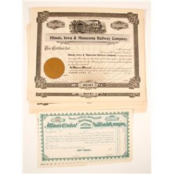 US R.R. Companies Stock Certificates:  NY & IL (2 Different)