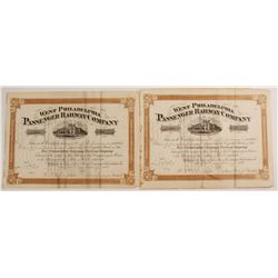 West Philadelphia Passenger Railway Company Stock Certificates