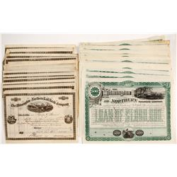 Wilmington and Northern Railroad Company Stock & Bond Certificates