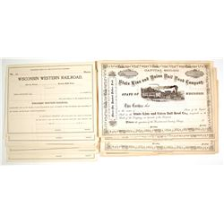 Wisconsin Western Railroad & State Line and Union Railroad Company (of Wisconsin) Stock Certificates