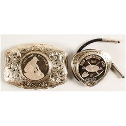Sterling Silver Belt Buckle and Bolo Set - Gold Panner and Gold Prospectors Assn.