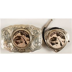 Sterling Silver Belt Buckle and Bolo Set - Hard Rock Miner