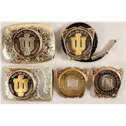 Sterling Silver Belt Buckle and Bolo Set - Indiana University