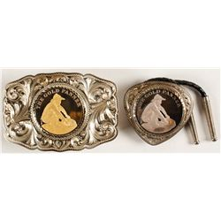 Sterling Silver Belt Buckle and Bolo Set - The Gold Panner, toned