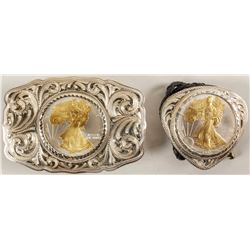 Sterling Silver Belt Buckle and Bolo Set - US Silver Eagles