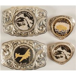 Sterling Silver Belt Buckles and Bolos Set - Hard Rock Miner and other designs