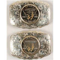 Sterling Silver Two Belt Buckle Set - DOI 50th Anniversary