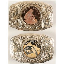 Sterling Silver Two Belt Buckle Set - The Gold Panner and Hard Rock Miner