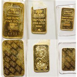 3 Credit Suisse Gold Bars 1, 1/2, 1/4 Tr Oz