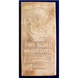 Sunshine Mining 100 Tr Oz Silver Bar