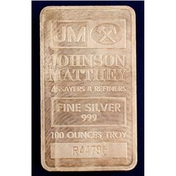 Johnson-Matthey 100 Tr Oz Silver Bar
