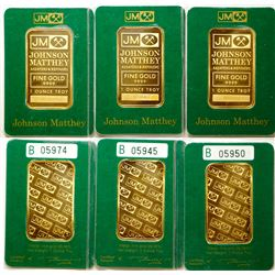 Johnson-Matthey One-Ounce Gold Bars (3)