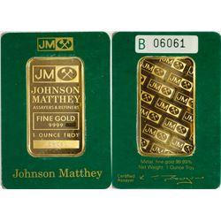 Johnson-Matthey 1 Tr Oz 9999 Gold Bar