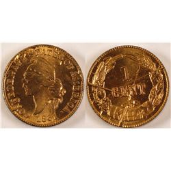 Bashlow Confederate Cent, Gold Plated