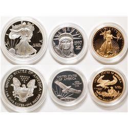 American Eagle 1997 Three Metal Proof Set