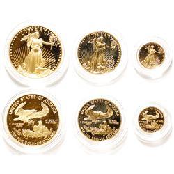 Set of three American Eagle Gold Proof Coins: 1 Tr Oz; 1/2 Tr Oz; 1/10 Tr Oz