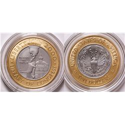BiMetallic Gold-Platinum 2000 Library of Congress Coin