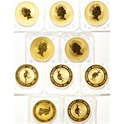 Five, One-Ounce Australian Gold Nugget Coins, Uncirculated