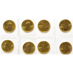 Four Quarter-Ounce Canadian Gold Maple Leaf Coins, Uncirculated 9999