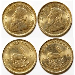 Pair of Quarter-Ounce 1981 South African Gold Krugerrand Coins, Uncirculated