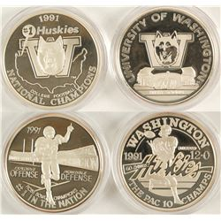 U of WA Husky Football Centennial Silver Medallions - Set of 3
