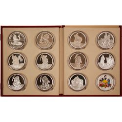 50th Anniversary of Disney's Snow White - Complete Set of 11 Five-Ounce 999 Silver Medallions