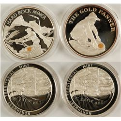 Gold Panner and The Hard Rock Miner Silver Bullion Coins