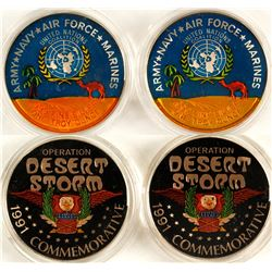 """Operation """"Desert Storm"""" Silver Medallions - Set of 2 Enameled"""