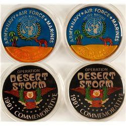 "Operation ""Desert Storm"" Silver Medallions - Set of 2 Enameled"