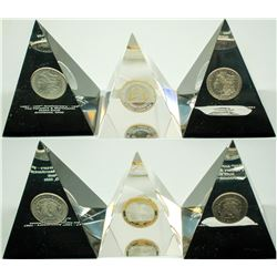 Lucite Pyramids with Embedded Silver Coins