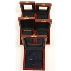 Five Cherry-finish Wooden Presentation Boxes