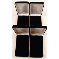 Four Black Velvet Clamshell Medal Presentation Boxes