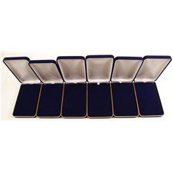 Six Navy Blue Velvet-Covered Medal Presentation Clamshell Boxes