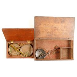 Scale Box with Brass Tray; & 1 Empty Box