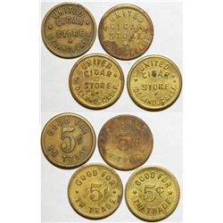 United Cigar Store Token Varieties
