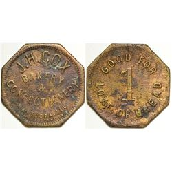 J. H. COX Bakery & Confectionary Token