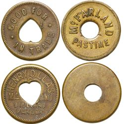 McFarland Past Time Billiards Tokens (2 Different)